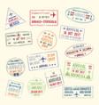 Icons travel city passport stamp