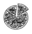 ink sketch pizza vector image vector image
