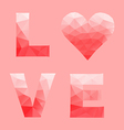 Love and heart by abstract geometric triangle in vector image