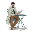 man seating at table in a cafe reading a newsp vector image