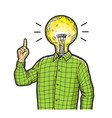 man with index finger up sketch engraving vector image vector image