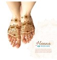 Mehndi Henna Woman Feet Realistic Design vector image vector image