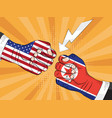 north korea vs america nuclear explosion pop art vector image vector image