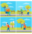 people in city park elderly man and woman set vector image vector image