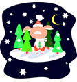 piglet in red pants in a winter forest on a starry vector image