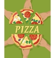 Pizza Pieces in Hand vector image vector image