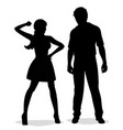 quarrel silhouette swearing couple woman beats a vector image vector image
