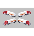 Red heavy american truck with the trailer vector image vector image