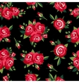 roses pattern on black vector image vector image