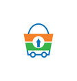 shopping bag trolley logo vector image vector image