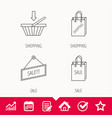 shopping cart sale bag icons vector image vector image