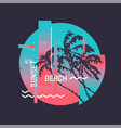sunset beach graphic t-shirt design on topic vector image vector image