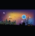 the dark night halloween and full moon in sky vector image