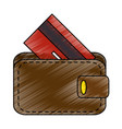 wallet with credit card isolated icon vector image