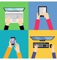 Business hands with gadgets vector image
