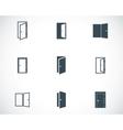black door icons set vector image