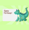 a dinosaurs on birthday template vector image vector image