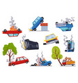 accidents on road cars damaged road accident vector image vector image