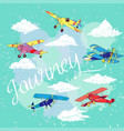background with colored airplanes vector image vector image