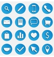 Blue SEO Business Icons Set with Magnifier Pen vector image