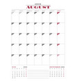 calendar planner template for 2018 year august vector image vector image