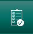 Checklist icon survey in flat design on green