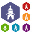 church icons hexahedron vector image vector image