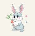 cute bunny with carrot lovely sitting rabbit vector image vector image