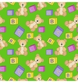 Cute teddy with alphabet toy cubes vector image