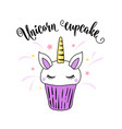 cute unicorn cupcake with horn ears and eyes vector image vector image