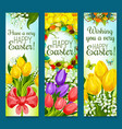 easter eggs and flowers greeting banner set design vector image vector image