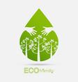eco friendly hands hug concept green vector image