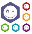eyewink emoticon icons set vector image vector image