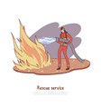 firefighter puts out fire with water vector image