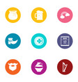 getaway icons set flat style vector image vector image