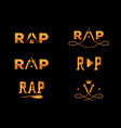 golden element rap word design vector image