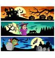 halloween banners set 2 vector image
