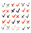 hand drawn check signs confirm or tick icons set vector image