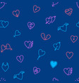 heart thin line seamless pattern background vector image vector image