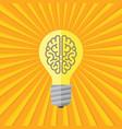 human brain in lightbulb lamp - concept banner vector image