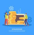 ico blockchain flat background vector image
