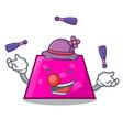 Juggling trapezoid mascot cartoon style