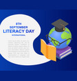 literacy day book banner concept isometric style vector image
