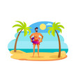 man in sunglasses and red trunks with lifebuoy vector image vector image