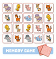 memory game for children cards with farm animals vector image vector image