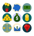 Money and Finance Icons Set with Piggy and Gold vector image vector image
