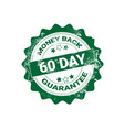 money back guarantee badge green grunge sticker or vector image vector image