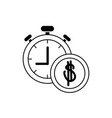money business financial stopwatch coin line style vector image