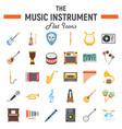music instruments flat icon set audio symbols vector image