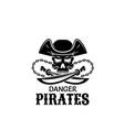 pirate skull in captain hat with sword icon design vector image vector image